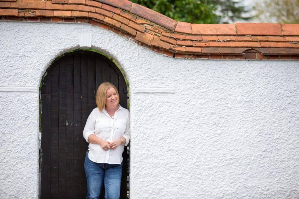 Anna Verghese in a doorway