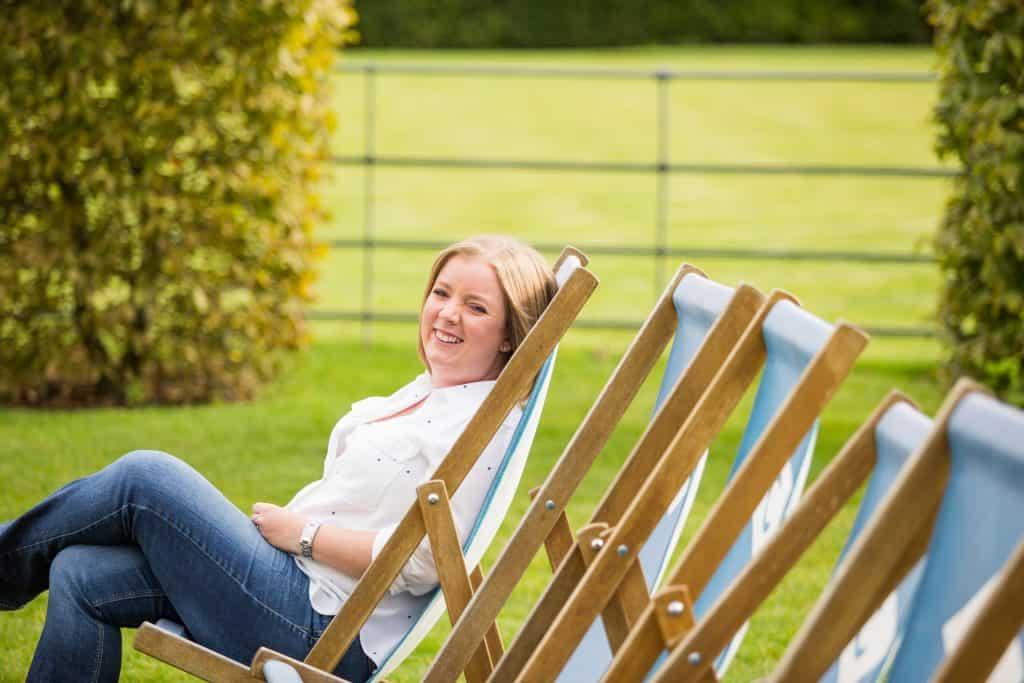 Anna Verghese sitting in a deckchair