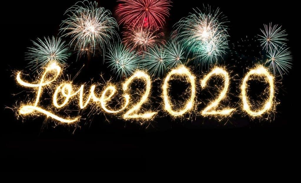 Love 2020 written in fireworks.
