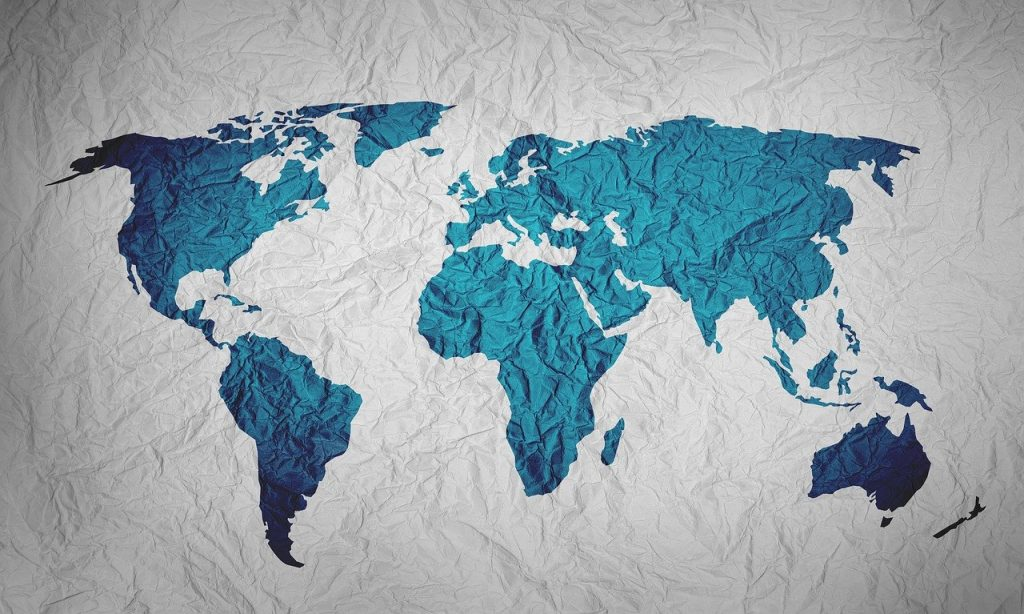 world map blue on white background