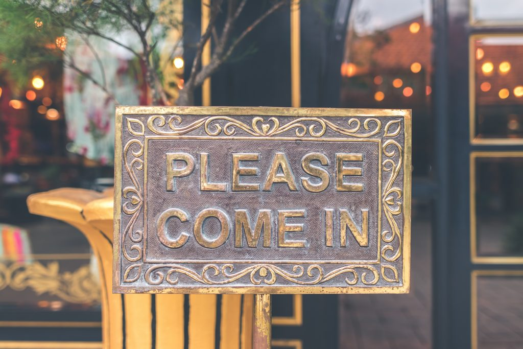 please come in open for business sign