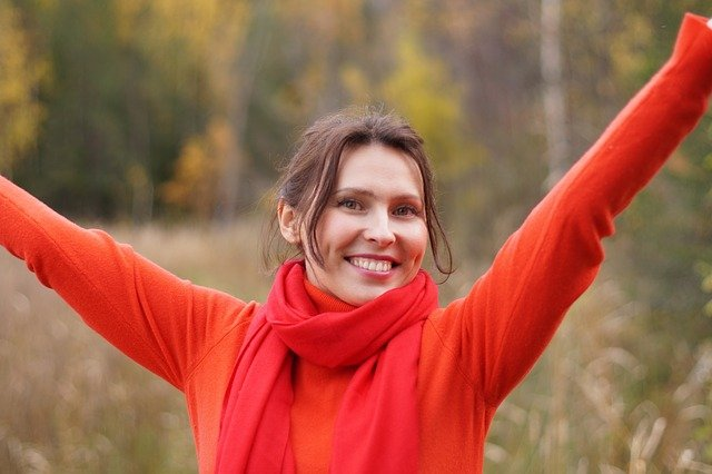 Woman looking positive and happy